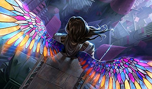 (RFG REMOVE FROM GAME Angel Stained Glass Playmat 24 x 14 inch Mousepad for Yugioh Pokemon Magic The Gathering )