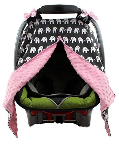 Dear Baby Gear Carseat Canopy, Elephants on Grey, Pink Minky