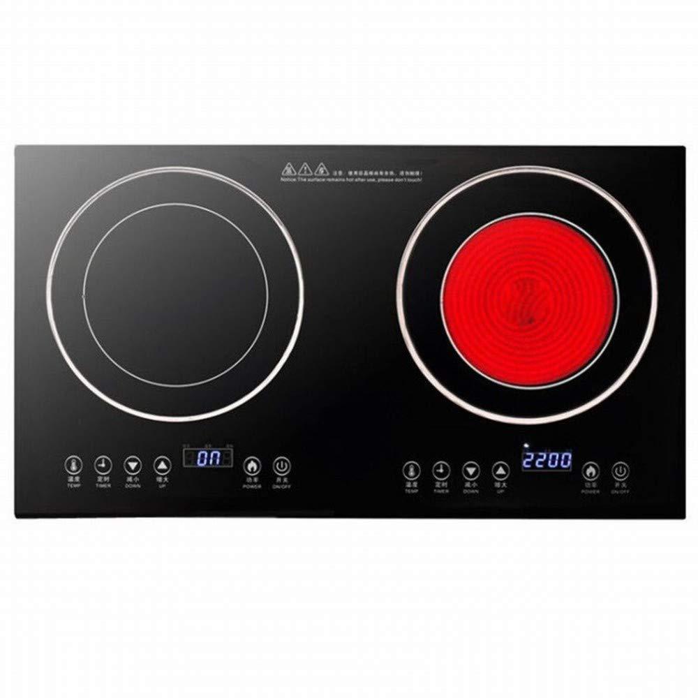 CN Cocina de inducción de Doble Cabeza incrustado Estufa de cerámica eléctrica de Alta Potencia Estufa eléctrica de Escritorio,Negro,1: Amazon.es: Deportes ...