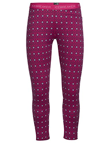 Icebreaker Merino Kids Oasis Leggings Align Print, Pop Pink/Snow/White, Size 1 (Wool Leggings Icebreaker)