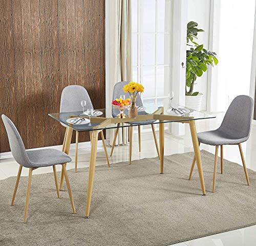 Harper Bright Designs Contemporary Dining Table with Tempered Glass Top for Kitchen