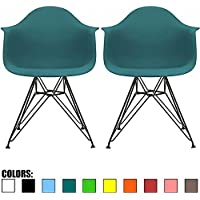 2xhome - Set of Two (2) - Teal - Modern Eames Style Armchair with Black Eiffel Wire Legs Dining Chair Molded Plastic Arm Chair Wire Base