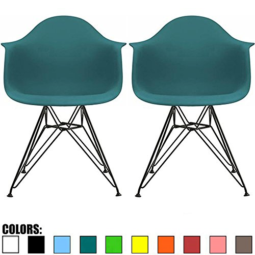 (2xhome Set of 2 Teal Plastic Armchair Natural Wood Legs Eiffel Dining Room Chair Lounge Chair Arm Chair Arms Chairs Seats Wooden Wood Leg Wire Leg (Teal - Black Wire Legs))