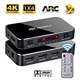 HDMI Switch, Chamch 4 Port (4 in 1 Out) HDMI Switcher with IR Remote Control and AC Power Adapter, Support Ultra HD 4K x 2K @ 60Hz HDR 3D 1080p for Xbox PS4 Blue-Ray Player Roku Amazon Fire Stick