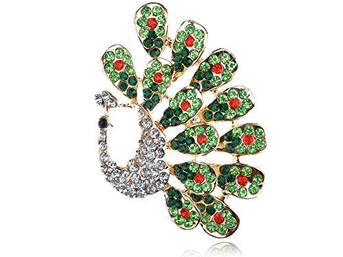 Alilang Emerald Peridot Clear Crystal Rhinestone Peacock Feather Bird Design Pin Brooch