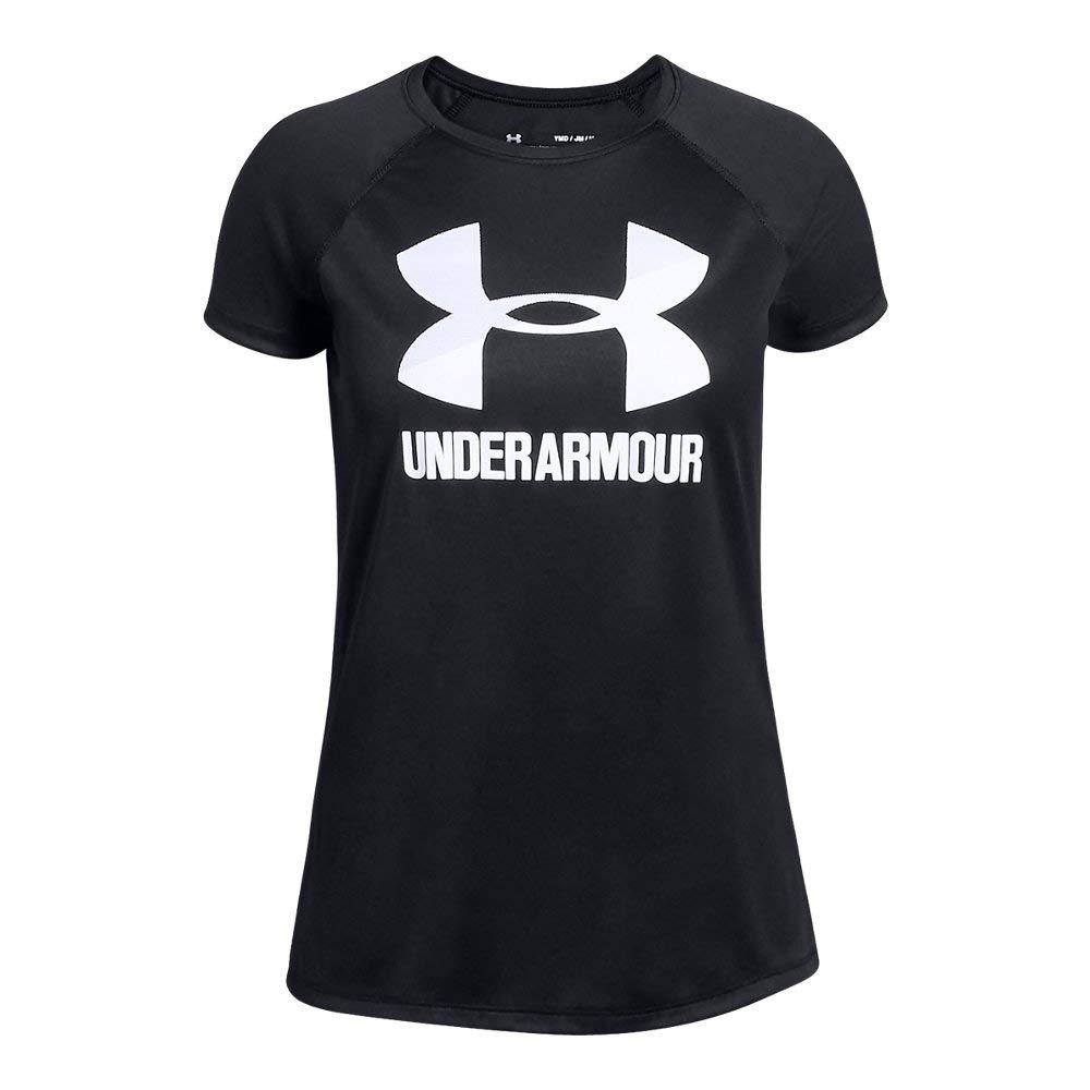 UNDER ARMOUR girls Big Logo Solid Short Sleeve T-Shirt, Black (001)/White, Youth Large