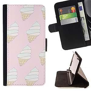 - ice cream pink white cone vanilla summer - - Prima caja de la PU billetera de cuero con ranuras para tarjetas, efectivo desmontable correa para l Funny HouseFOR Apple Iphone 6