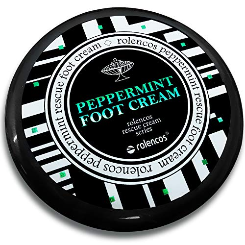Rolencos Peppermint Cooling Foot Cream 4.20oz, Moisturizing, Callus Remover, Thick, Cracked, Rough, Dead and Dry, Hard Feet, Heels, Soles, Professional Foot Care Rescue Cream (Peppermint Foot - Cooling Lotion Foot