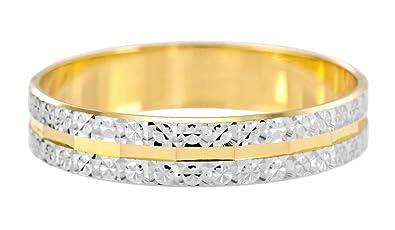 Kareco 9 ct 2 Colour Gold 6 mm Light Flat Diamond Cut Wedding Ring TKXjqnSx