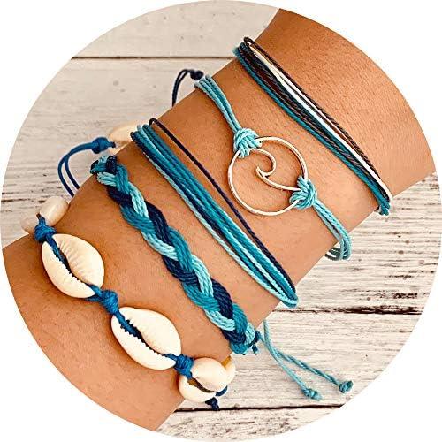Beach Jewelry Shell Friendship Bracelet Anklet Boho Hippie Summer Music Fest Birthday Party Favor Hemp Wood Beads Ocean Sea Surfer Girl Boy