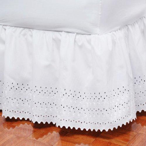 Tiara Eyelet Bedskirt Dust Ruffle TWIN Size 18'' drop - White (Drop 18' Twin Ruffle Dust)