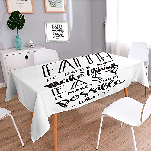 Square Linen Tablecloth,faith does not make things easy it makes them possible bible verse hand lettered quote modern,Printed Pattern Washable Table cloth Dinner Home Decor by SOCOMIMI