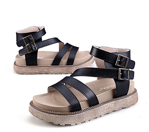 H&W Womens Real Leather Platform Sandals 4.5CM Gladiator Buckle Ankle Strap Gum Rubber Soles Black Bes1opSIx