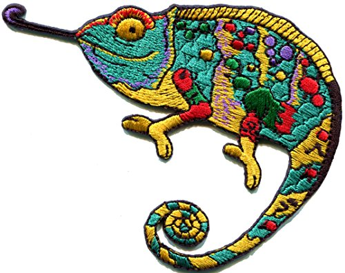 Chameleon lizard retro hippie boho 70s embroidered applique iron-on patch S-1310 (Lizard Retro)