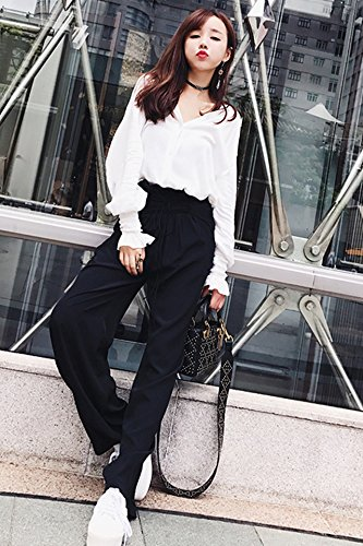 be7cea189b85 Amazon.com   Temperament elastic folds lanterns long-sleeved white shirt +  black wood ear straps fashion wide leg pants suit for women girl   Beauty
