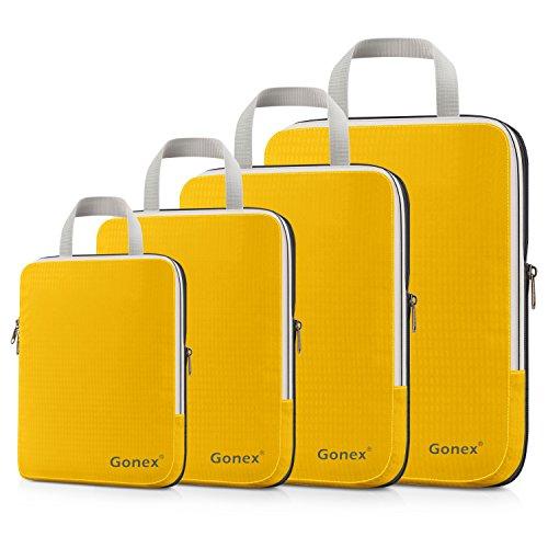 Gonex Compression Packing Cubes Set, Expandable Packing Organizers 4pcs(Apricot)