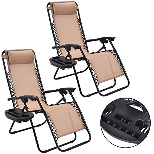 NEW 2PC Zero Gravity Chairs Lounge Patio Folding Recliner Beige W/Cup - In List Malls Of Nj