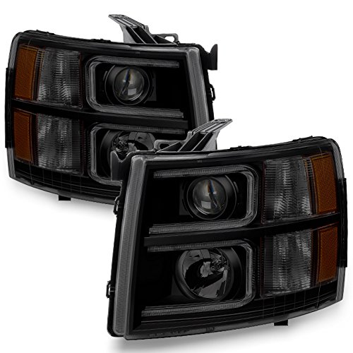 Projector Headlights Set - For 2007-13 Chevy Silverado 1500 | 2007-14 2500HD 3500HD LED C-Shape Tube Black Smoked Projector Headlights Pair Set