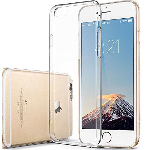(Novo Icon Clear Soft TPU Case Rubber Silicone Skin Cover, Support Wireless Charging for Apple iPhone 6s Plus/6 Plus)
