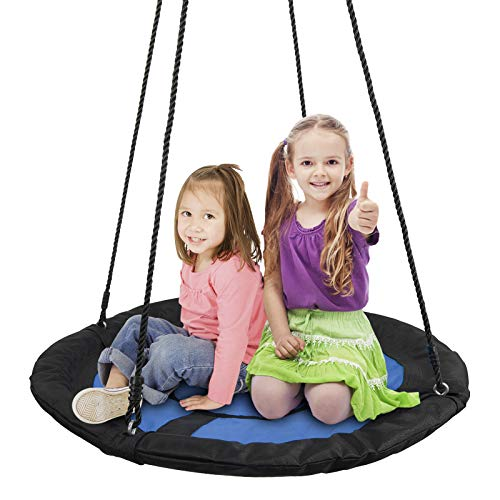 SUPER DEAL Swing Set, 40'' Kids Web Tree Swing Saucer Swing + 72'' All-Steel All Weather Stand Combo (Blue, XXL) by SUPER DEAL (Image #1)