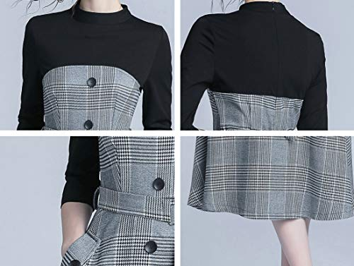 Women's Vintage 2 in 1 Midi Dress Casual Patchwork Design Party A-Line Dress