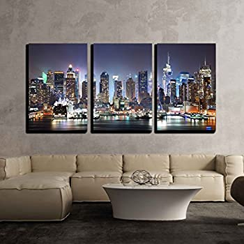 wall26 - 3 Piece Canvas Wall Art - New York City Manhattan Skyline Panorama at Night - Modern Home Decor Stretched and Framed Ready to Hang - 16