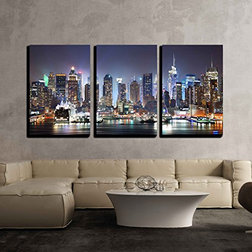 "wall26 - 3 Piece Canvas Wall Art - New York City Manhattan Skyline Panorama at Night - Modern Home Decor Stretched and Framed Ready to Hang - 16""x24""x3 Panels"