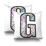 Soopat Decorativepillows Covers 18''x18'' set of 2, Two Sides Printed Splattered Letter Uppercase Or Capital An Artsy Multicolor Ink Splash Bold Font Isolated OnWhite Clipping Path Throw Pillow Cases
