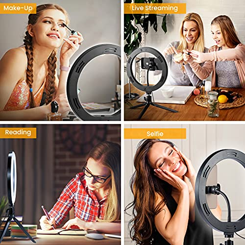 10.2'' LED Ring Light with Tripod Stand & Phone Holder & Bluetooth Remote, 3 Light Modes 10 Brightness Level Desk Selfie Ringlight for iPhone/Phone, for Live Streaming/Makeup/YouTube Video/Photography