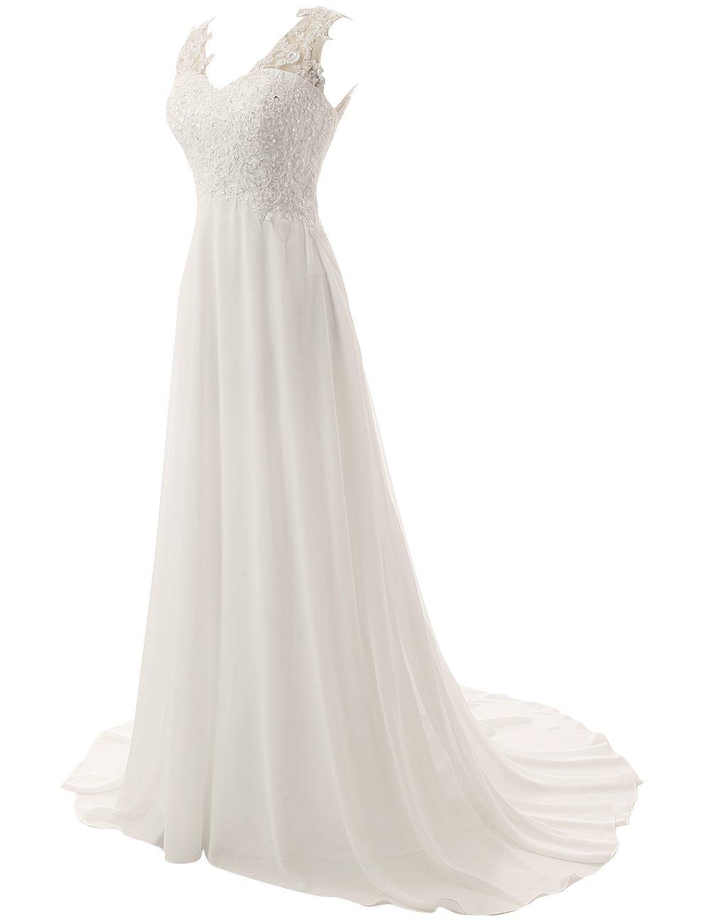 JAEDEN Elegant Lace Beach Wedding Dresses Chiffon V Neck A Line Long Bridal Gown White US22W by JAEDEN (Image #3)