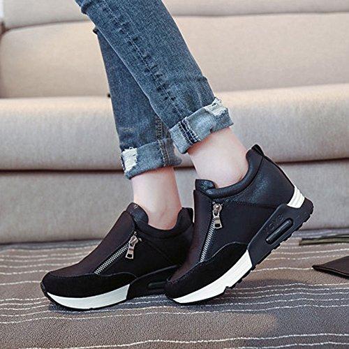 Femme L'intérieur À Miroir d'Augmenter Casual Sumtter Plateforme Plaine Noir Baskets Shoes De fwpUg4qx