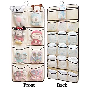 Dual-Sided Hanging Closet Organizer for Underwear, Stocking, Toiletries Accessories, Bra, Sock, 26 Mesh Pockets & Rotating Metal Hanger
