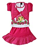 ELK Girl's Pink Cotton Top and Frock Clothing Set