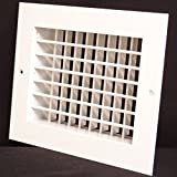 10''w X 10''h Aluminum Double Deflection Adjustale Air Supply HVAC Diffuser - Full Control Vertical/Horizontal Airflow Direction - Wide Front End Overlap - Vent Duct Cover