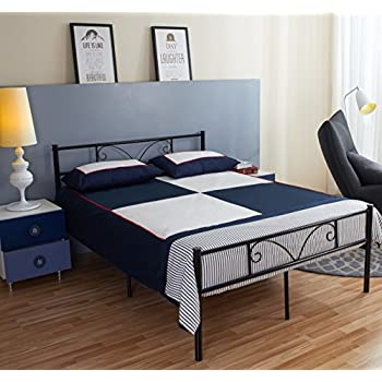 greenforest full size metal bed frame with stable metal slats headboardblack - Instamatic Bed Frame