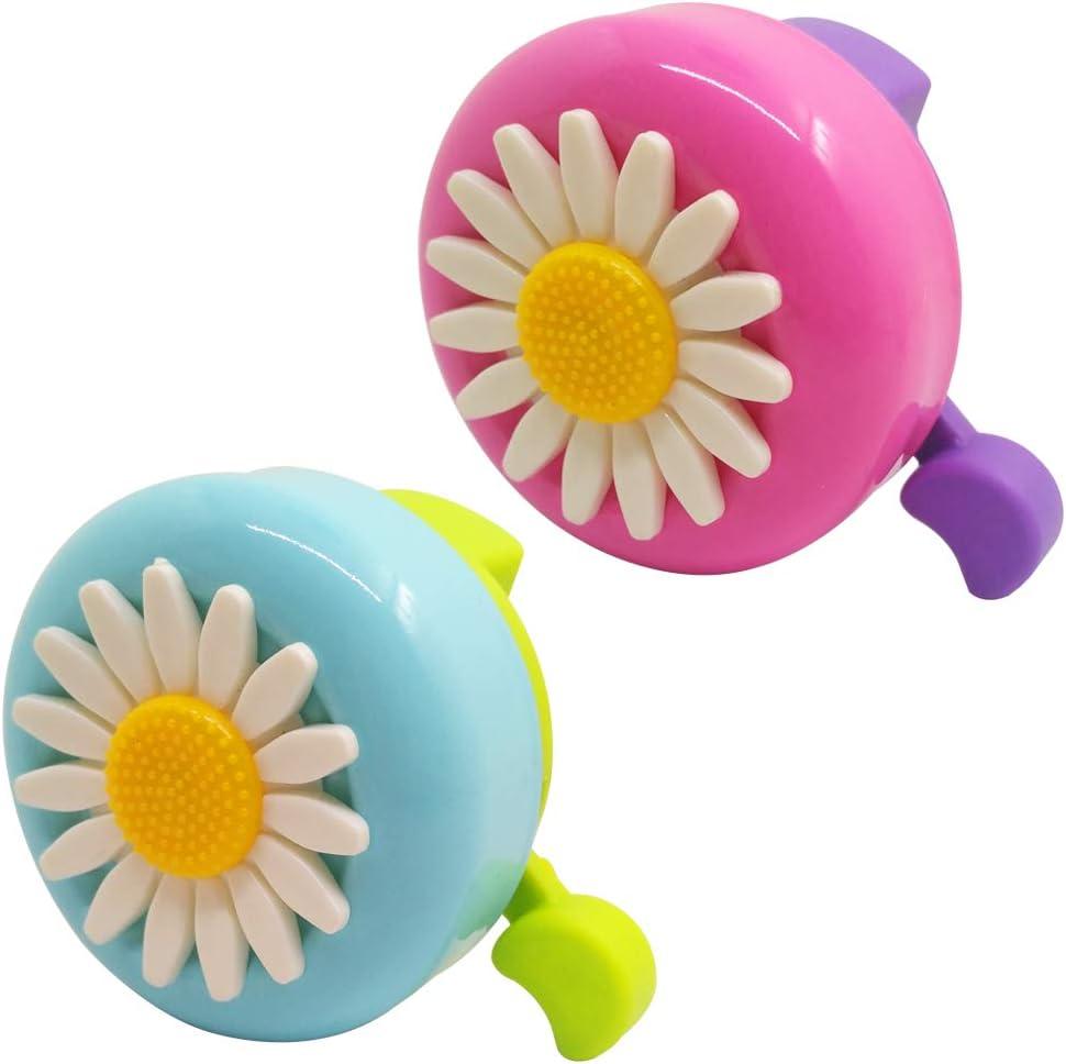 SENHAI 2 campanas de bicicleta para niños, timbre de bicicleta para niños, accesorios de flores, anillo para bicicleta, alerta de tono para niños y niñas