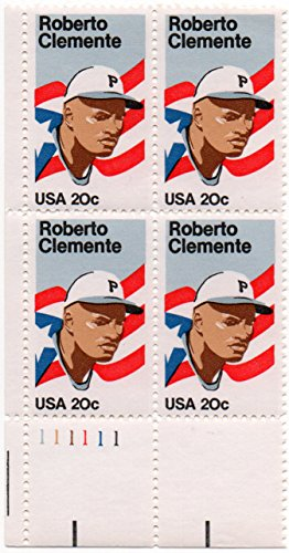 1984 Roberto Clemente Issue Plate Number Block of 20 Cent Stamps Scott 2097 By USPS