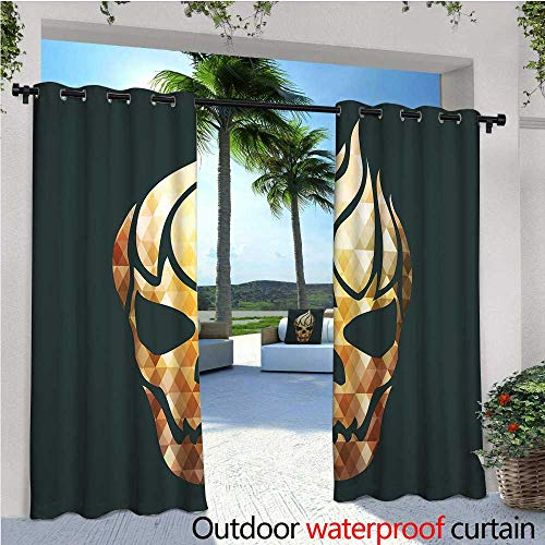 cobeDecor Modern Indoor/Outdoor Single Panel Print Window Curtain Gothic Skull with Fractal Effects in Fire Evil Halloween Concept Silver Grommet Top Drape W108 x L108 Yellow Pale Caramel Dark Grey