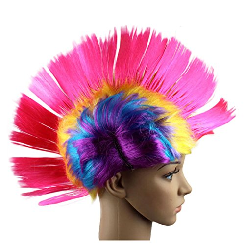 Women Bob Wigs, Inkach Chic Girls Hallowmas Masquerade Punk Mohawk Mohican hairstyle Cockscomb Hair Wig (D)