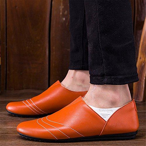 Un Autre Été Mens Style Décontracté Léger Mocassins Confortables Orange2