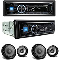 Alpine CDE-143BT CD/USB receiver With Advanced Bluetooth and Two Sets of Kenwood KFC-1665S Sport Series 6-1/2 2-way speakers
