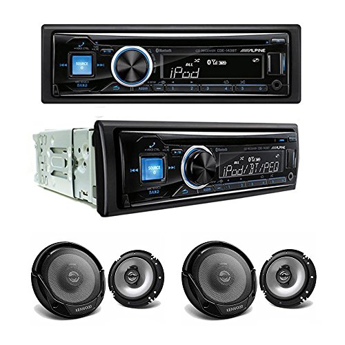 Alpine CDE-143BT CD/USB receiver With Advanced Bluetooth and Two Sets of Kenwood KFC-1665S Sport Series 6-1/2