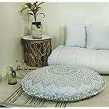 "Popular Handicrafts Large Ombre Mandala Round Hippie Floor Pillow Cover - Cushion Cover - Pouf Cover Bohemian Yoga Decor Floor Cushion Case - 32"" Silver"