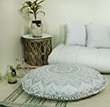Popular Handicrafts Mandala Round Hippie Floor Pillow Cover (Silver, 32' Cushion Cover)