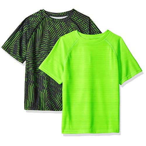 Hanes Big Boys' Sport Graphic and Heathered Performance Tee (Pack of 2), Edge Geo/Forging Green Heather, S