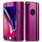 Slim Full Body Hybrid Hard Case For iPhone 8 Plus,With 9H Tempered Glass (Purple)