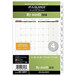 """At-a-glance Day Runner Monthly Planner Refill, January 2018 - December 2018, 5-12"""" X 8-12"""", Loose Leaf, Size 4 (061-685y)"""