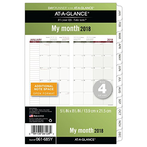 "AT-A-GLANCE Day Runner Monthly Planner Refill, January 2018 - December 2018, 5-1/2"" x 8-1/2"", Loose Leaf, Size 4 (061-685Y)"