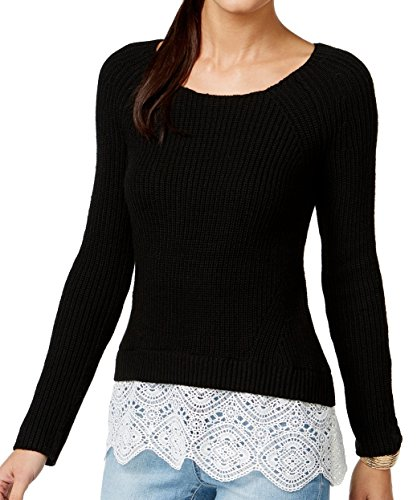 INC Womens Ribbed Knit Lace Trim Pullover Sweater Black