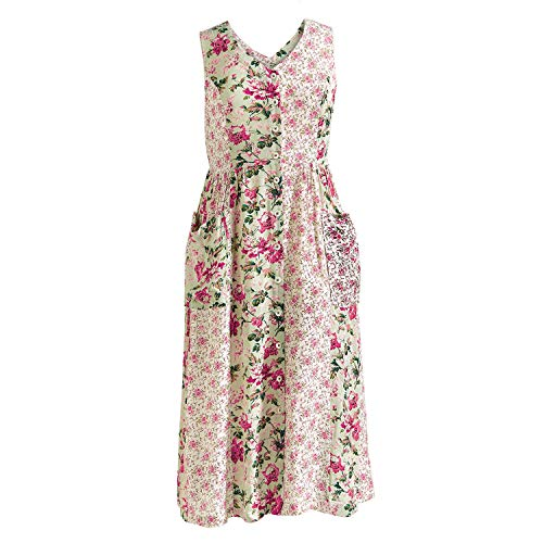 - April Cornell Women's Summer Roses Dress - Sleeveless V-Neck Mixed Floral Prints - XL